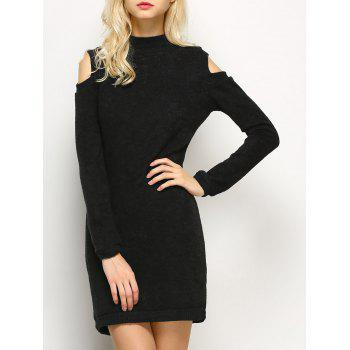 Long Sleeve Cold Shoulder High Neck Bodycon Dress - BLACK BLACK