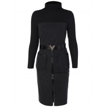 Knit Panel Belted Slit Dress with Pockets