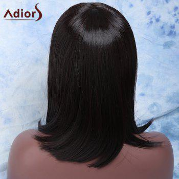 Charming Medium Full Bang Synthetic Silky Straight Dark Brown Wig For Women - DEEP BROWN