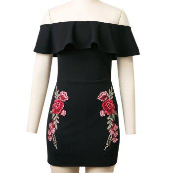 Rose Embroidered Off The Shoulder Flounced Bodycon Dress