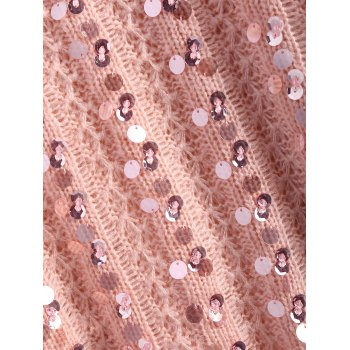 Crewneck Sequins Sweater - PINK ONE SIZE