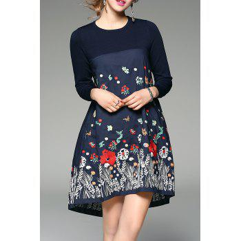 Floral Embroidered Long Sleeve Cotton Dress