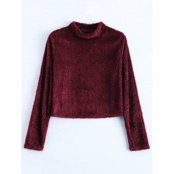 Fuzzy Cropped High Neck T-Shirt