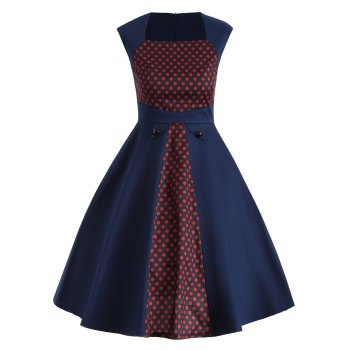 Vintage Polka Dot Color Block Swing Dress