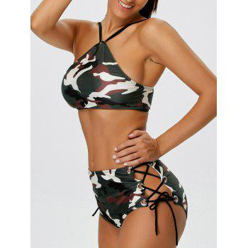 Camo Lace-Up Studded Bikini Set