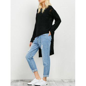 Ripped High Low Long Sweater
