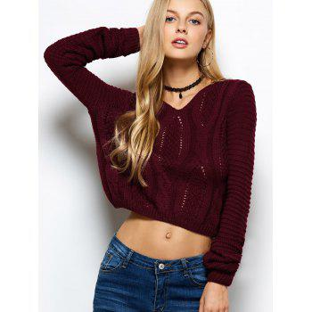 Open Cable Knit Cropped Sweater