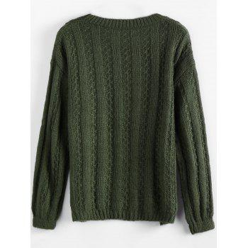 Crewneck Sequins Sweater - ARMY GREEN ONE SIZE