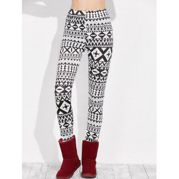 Skinny Geometric Leggings - WHITE AND BLACK WHITE/BLACK