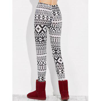 Skinny Geometric Leggings - WHITE/BLACK WHITE/BLACK