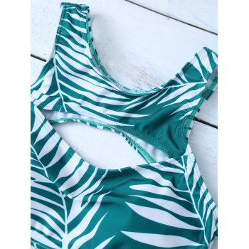 Leaf Print Cut Out Bikini Set - GREEN M