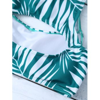 Leaf Print Cut Out Bikini Set - GREEN L