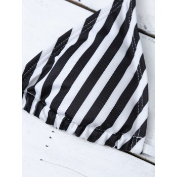 Halter Striped Bikini Set - WHITE/BLACK M