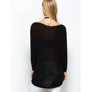 Open Knit Long Sweater - BLACK ONE SIZE