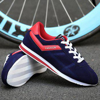 Stitching Suede Color Splice Casual Shoes - BLUE/RED 44
