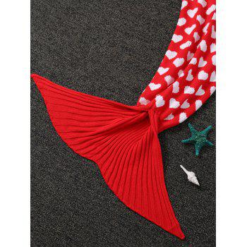 Heart Pattern Knit Mermaid Blanket Throw For Kids - RED