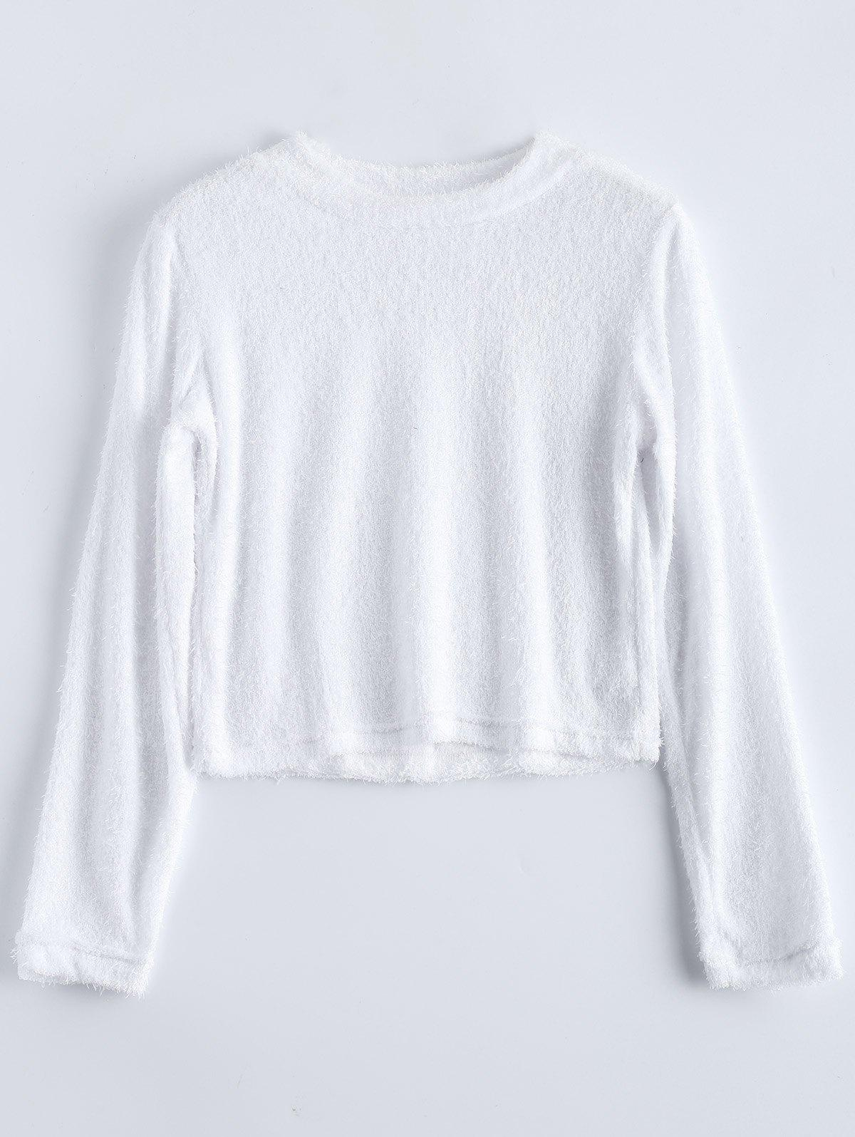 Fuzzy Cropped High Neck T-ShirtWomen<br><br><br>Size: M<br>Color: WHITE