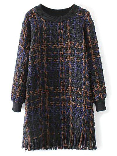 Fringed Heathered Sweater Dress - PURPLISH BLUE M