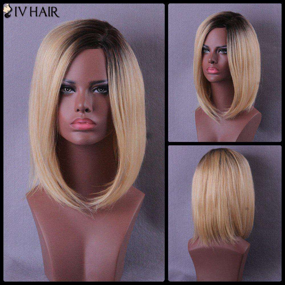 Side Parting Medium Color Mixed Straight Bob Siv Human Hair Wig - COLORMIX