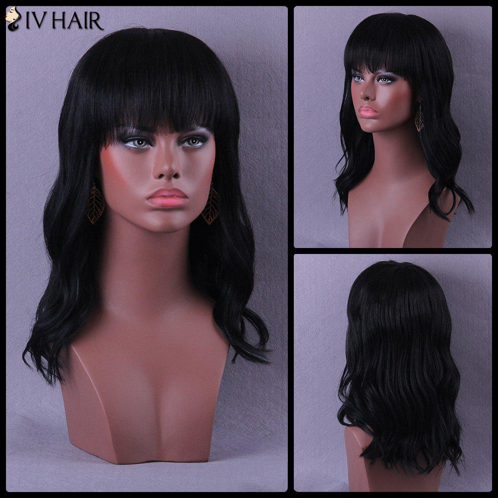 Neat Bang Long Slightly Curled Shaggy Siv Human Hair Wig - JET BLACK