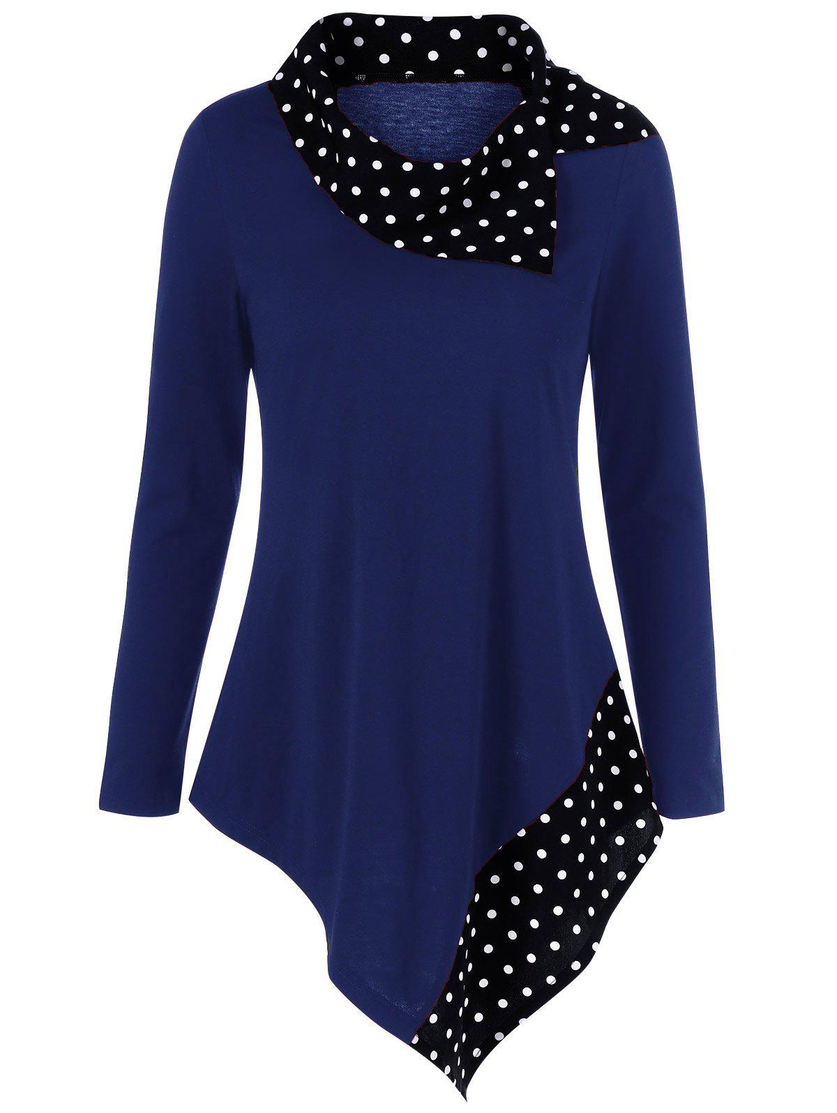 Polka Dot Plus Size Asymmetrical Tee - CERULEAN 3XL