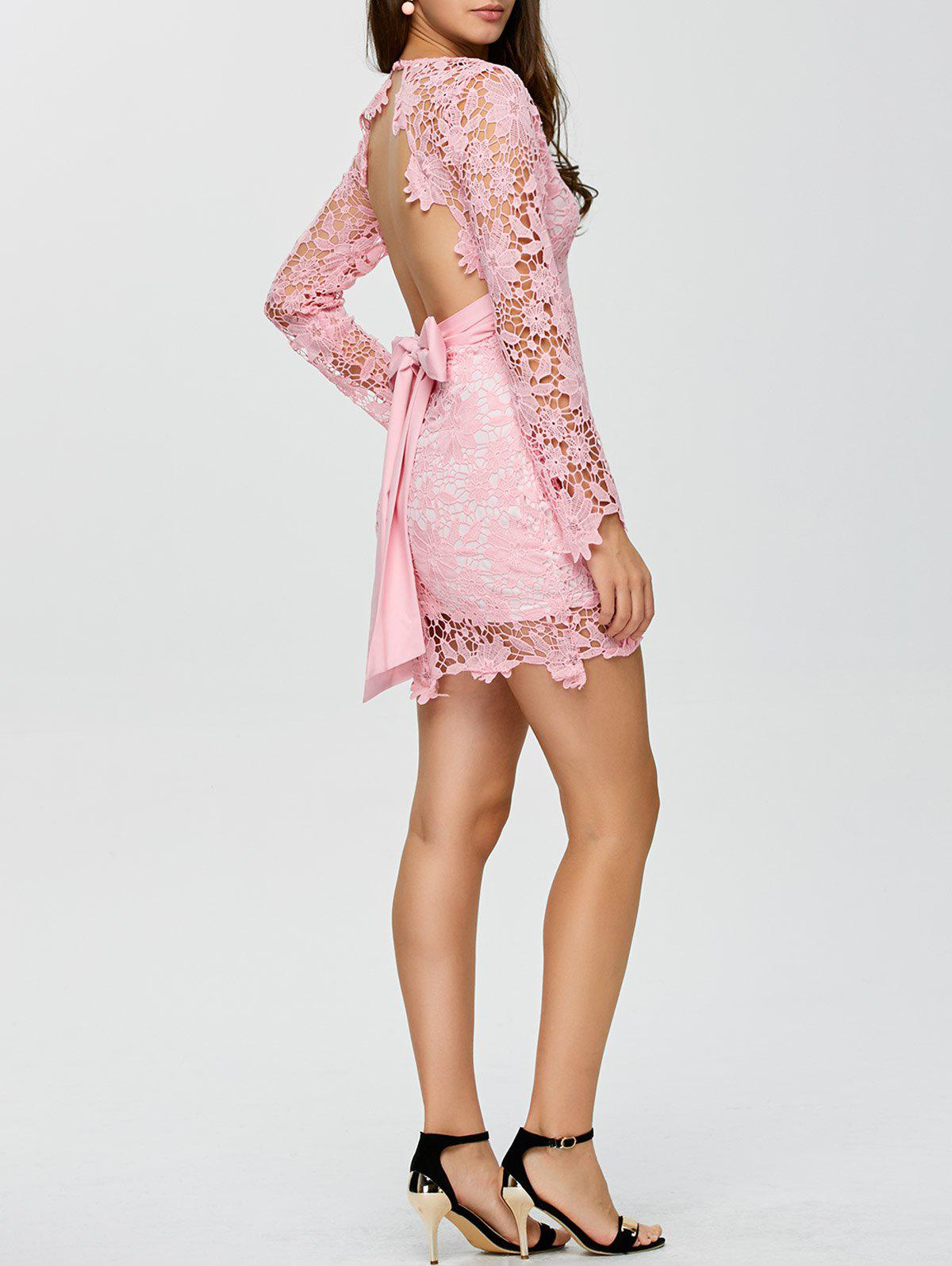 backless lace short cocktail dress with sleeves pink m