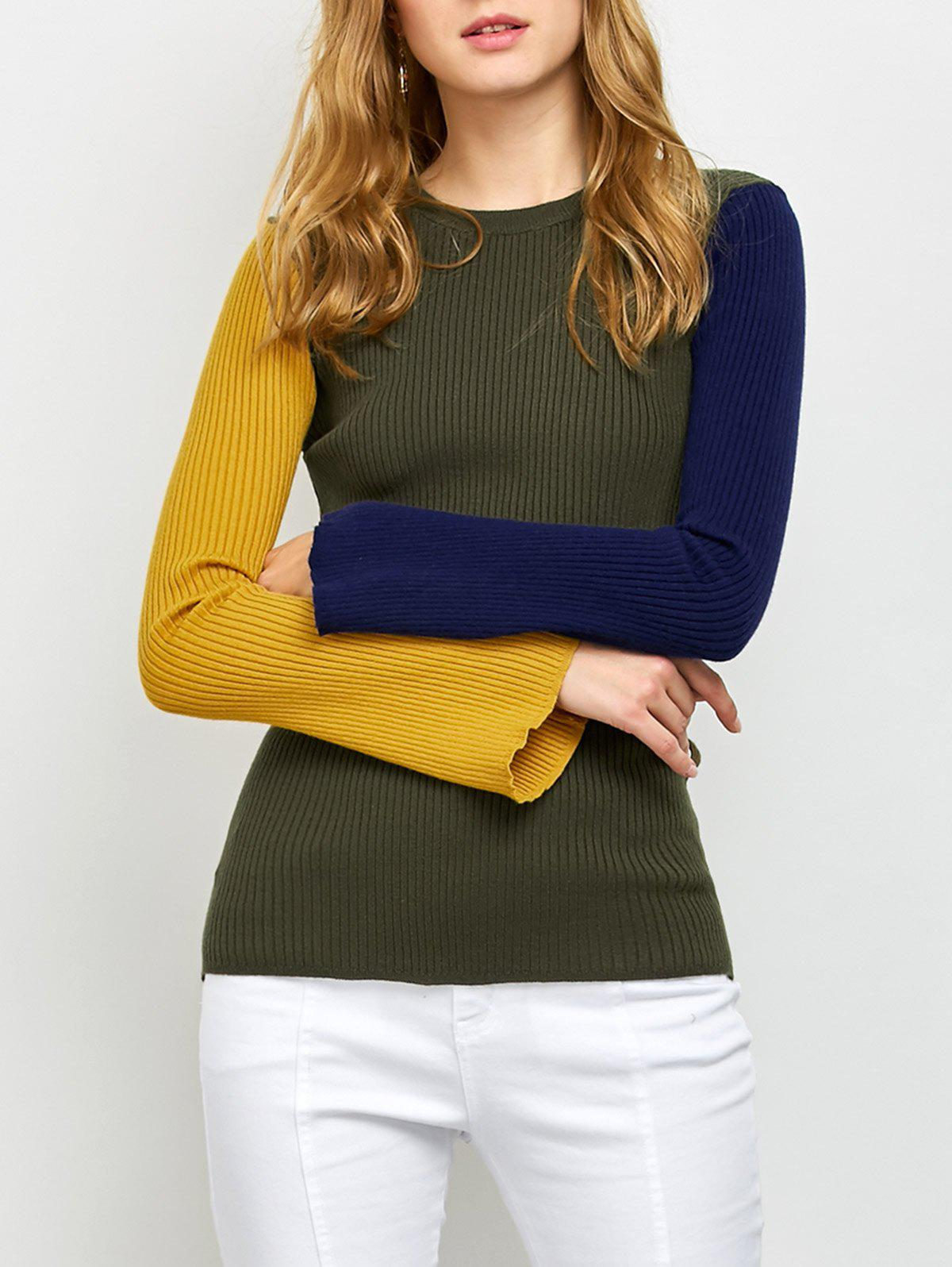 Ribbed Color Block SweaterWomen<br><br><br>Size: ONE SIZE<br>Color: ARMY GREEN