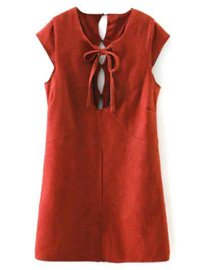 Cut Out Faux Suede Mini Dress - RED M