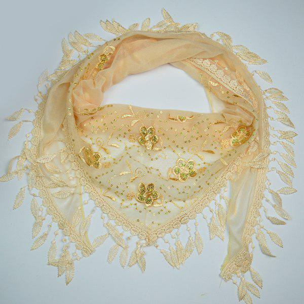 Flower Sequined Embroidery Tassel Triangle Scarf - PEARL BEIGE