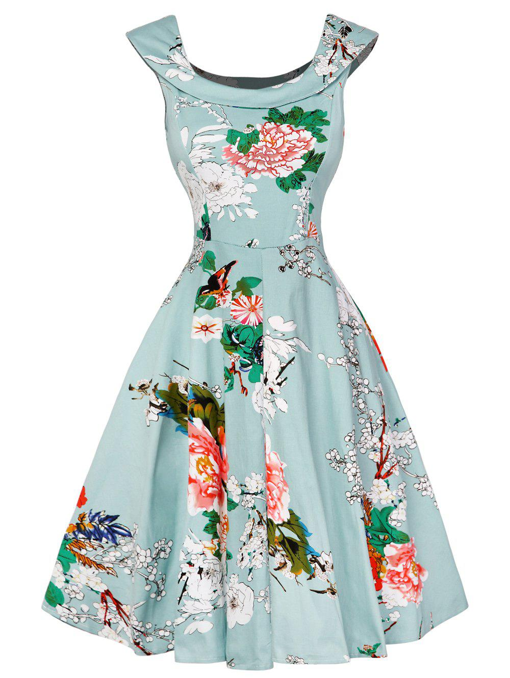 Cap Sleeve Floral Fit and Flare Dress - LIGHT GREEN M