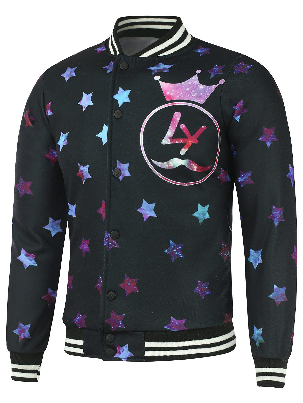 Starry Star and Graphic Print Plus Size Cotton Jacket