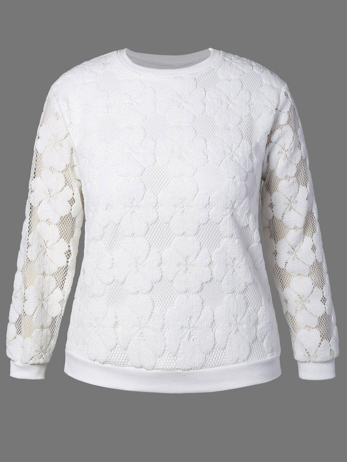 Plus Size Flower Embroidered Lace Sweatshirt - WHITE 3XL