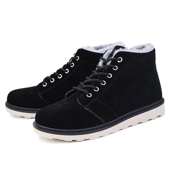 Lace Up Suede Flocking Ankle Boots - BLACK 41