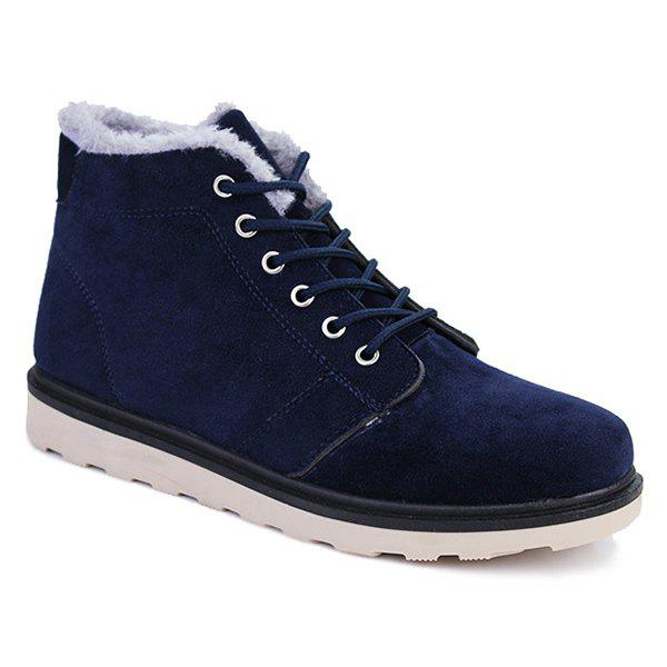 Lace Up Suede Flocking Ankle Boots - BLUE 40