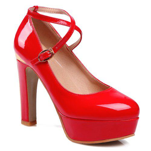 Platform Metal Cross Straps Pumps - RED 38