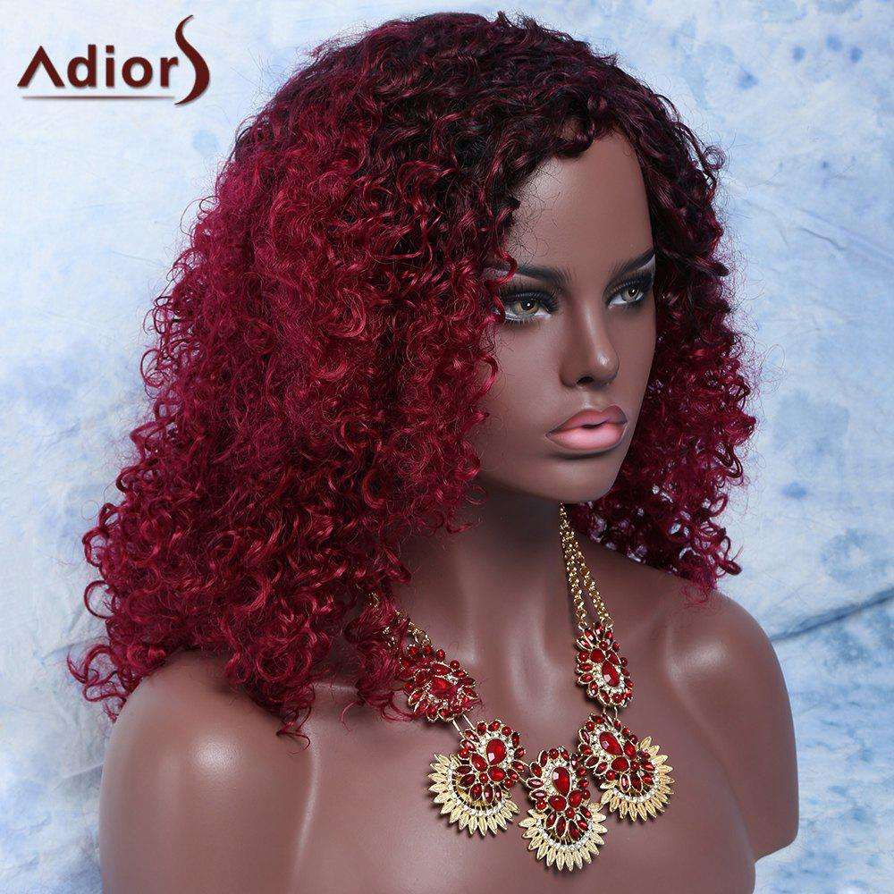 Womens Mixed Color Medium Afro Curly Side Parting Fashion Synthetic Hair Wig
