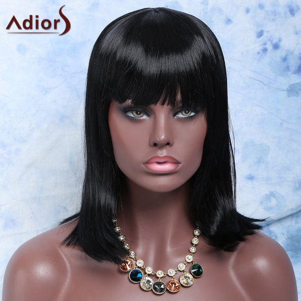 Women's Black Medium Straight Full Bang Fashion Synthetic Hair Wig -  BLACK