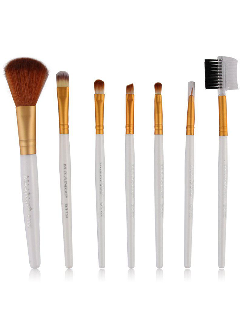 7 Pcs Fiber Makeup Brushes Set - WHITE