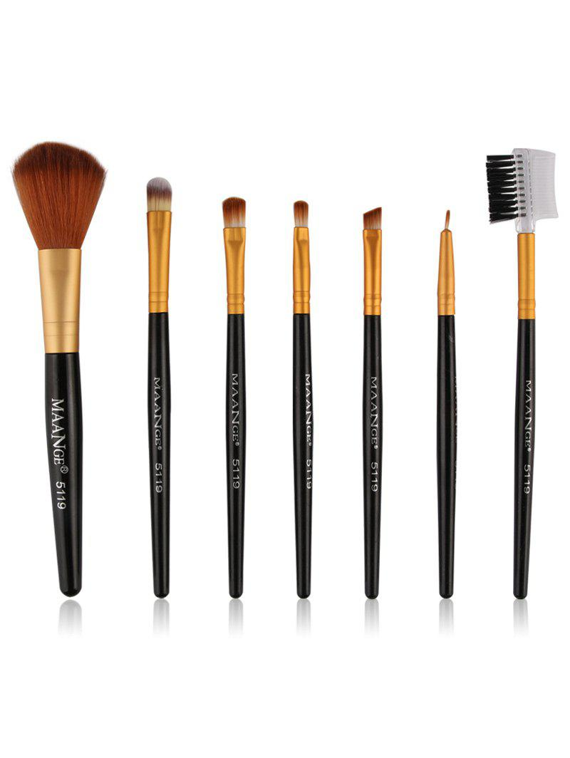 7 Pcs Fiber Makeup Brushes Set - BLACK