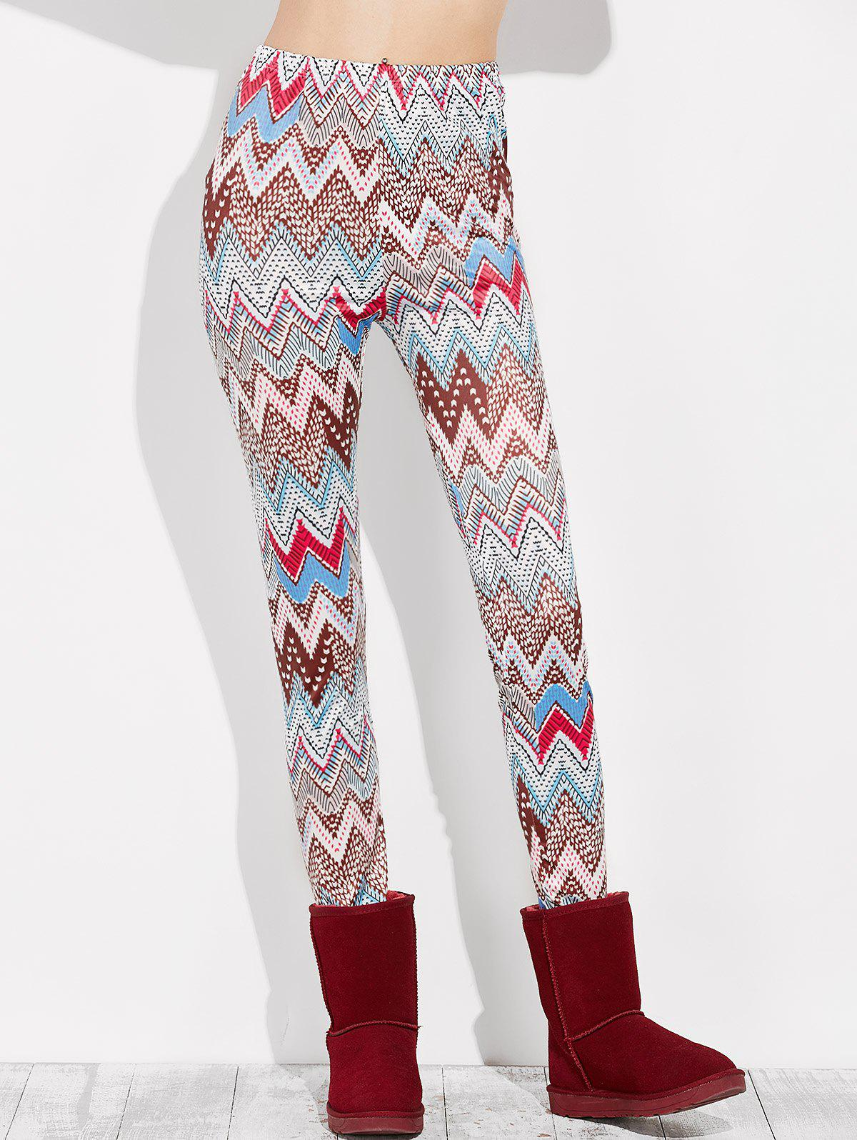 High Rise Leggings With Zigzag Print - multicolor S
