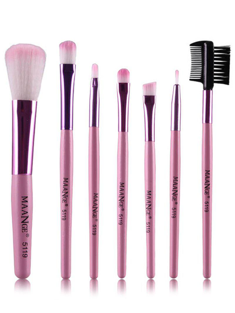 7 Pcs Makeup Brushes Set - PINK