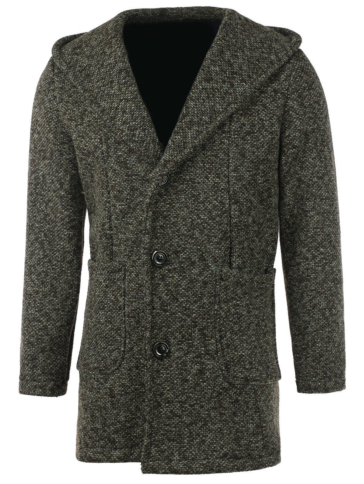 Patch Pocket Heathered Hooded Coat - CAMEL 3XL