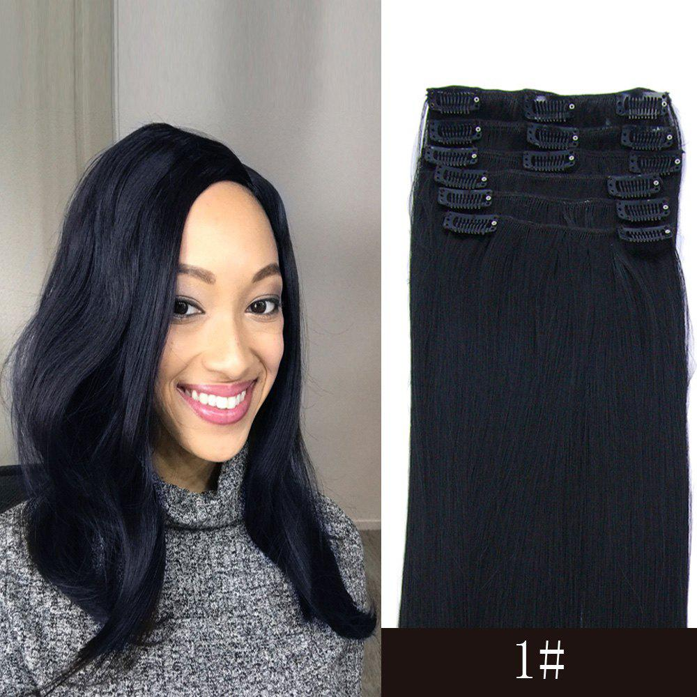 Long Straight 7 Pcs/Set High Temperature Fiber Hair Extension - JET BLACK