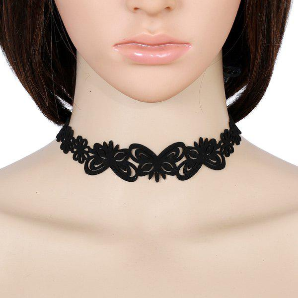Faux Leather Velvet Butterfly Choker Necklace - BLACK