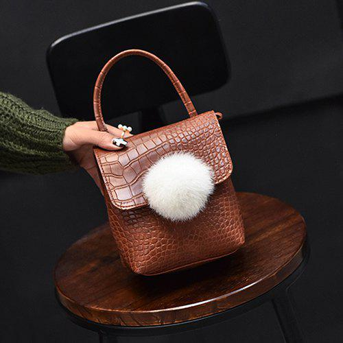 Pom Poms Faux Leather Crossbody BagBags<br><br><br>Color: BROWN