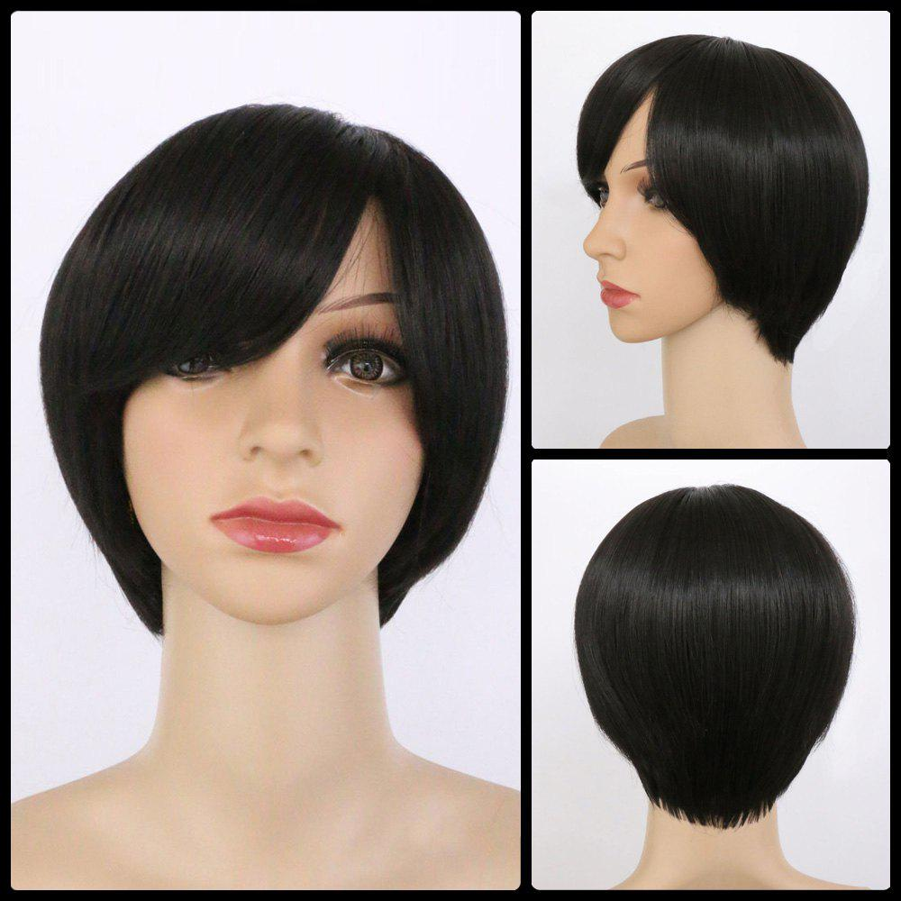 Handsome Women's  Black Short Oblique Bang Synthetic Wig - BLACK