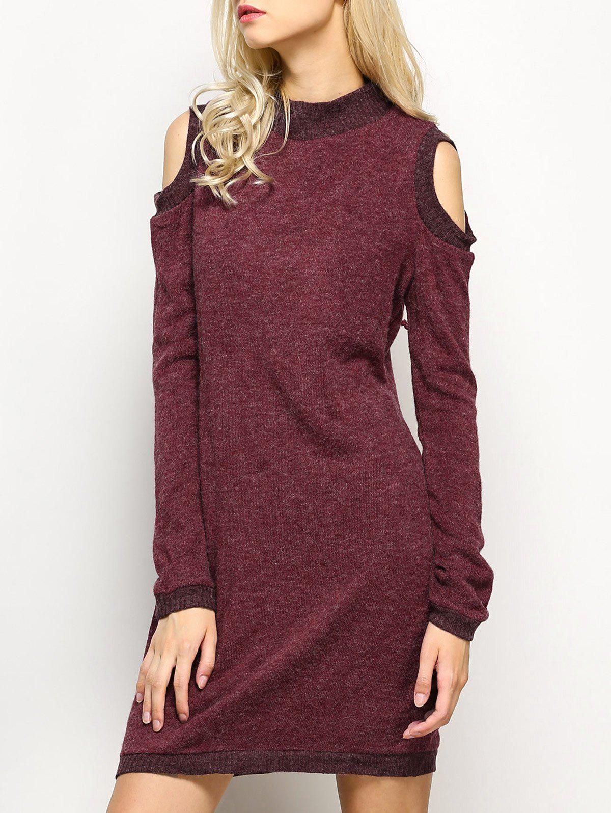 Long Sleeve Cold Shoulder High Neck Bodycon Dress - CLARET M