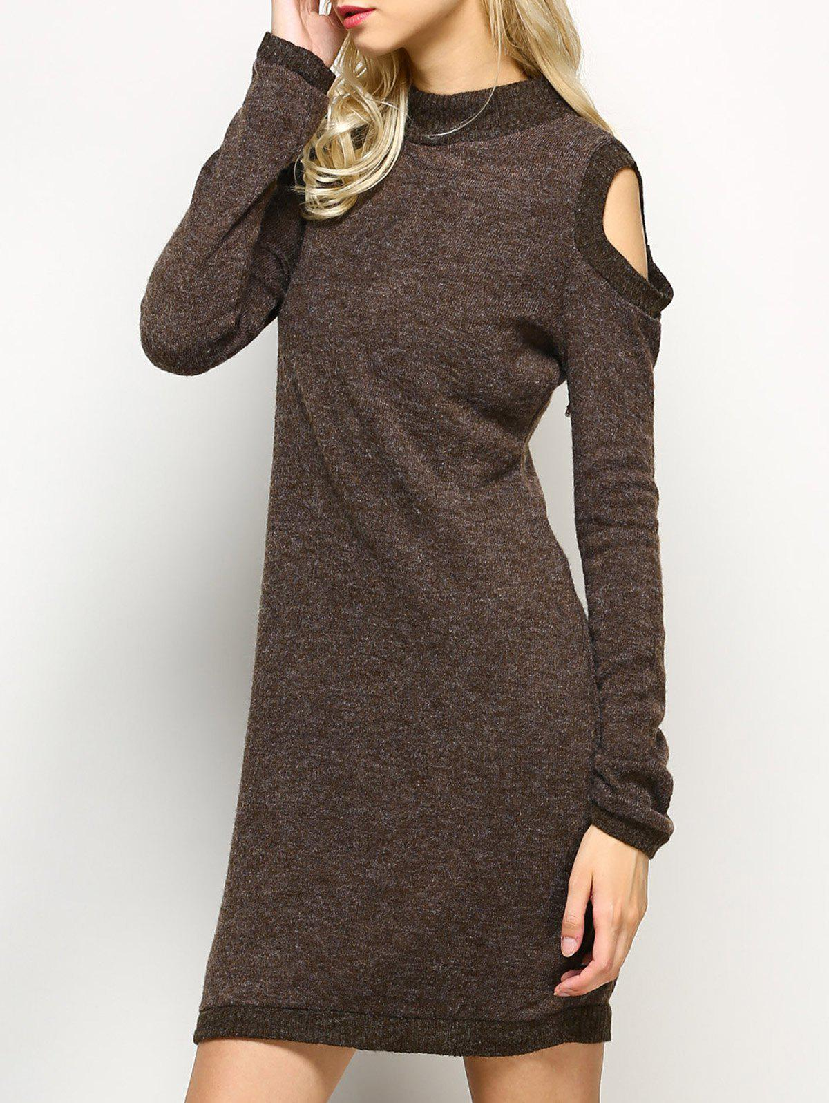 Long Sleeve Cold Shoulder High Neck Bodycon Dress - LIGHT COFFEE L