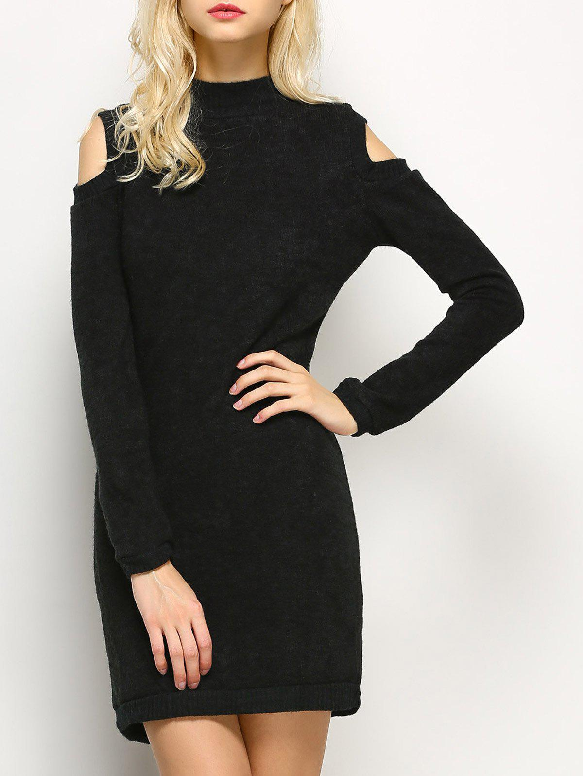 Long Sleeve Cold Shoulder High Neck Bodycon Dress - BLACK M