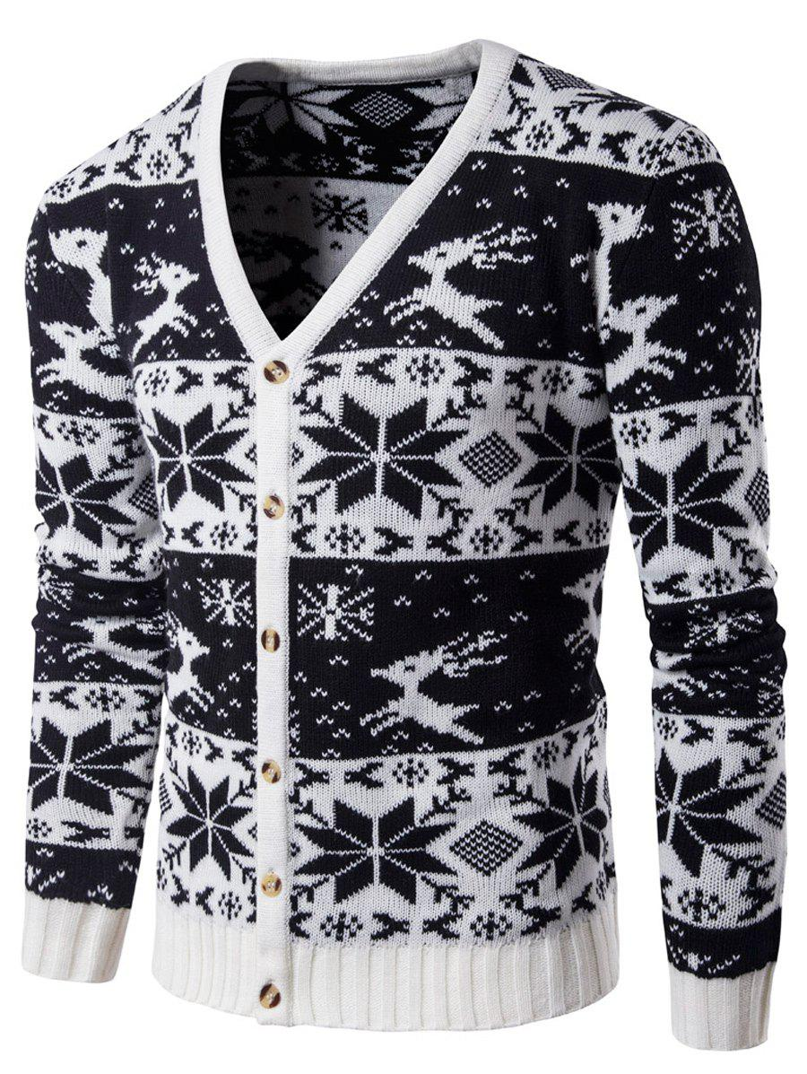 все цены на Snowflake Deer V Neck Christmas Cardigan